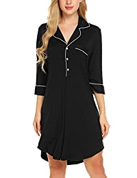Ekouaer Women's Half Sleeve Pajama Top Buttom Down Sleep Shirt Dress Solid Nightgown