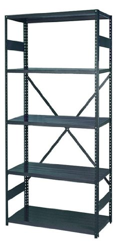 22 Gauge Steel Shelving (Edsal 2912-5 Industrial Gray 22-Gauge Steel Commercial Open Type Shelving, 5 Shelves, 400 lb. Per Shelf Capacity, 75