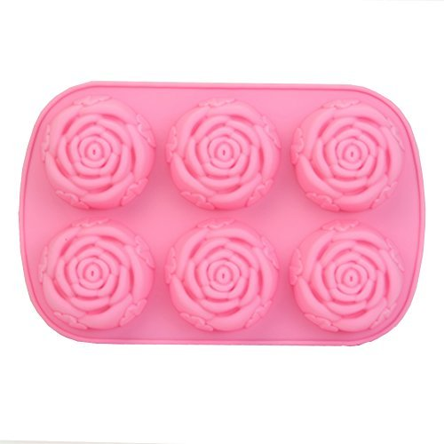 Wrisky New Silicone Ice Cube Candy Chocolate Cake Cookie Cupcake Soap Molds Mould DIY (6-Rose)