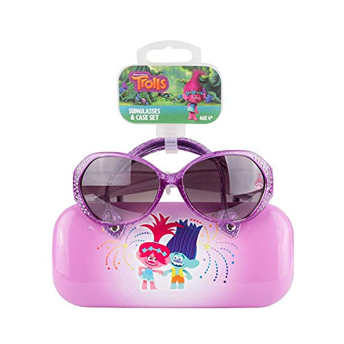 Trolls Children's Sunglasses & Hard shell Carrying Case Set - 100% UV Protection for Kids