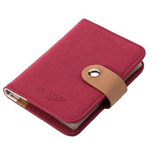 - Hometom Unisex Men Women Leather Credit Card Holder Business Wallet (Red)