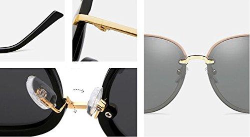 Mujer UV400 Harajuku Negro Redonda Anti Sol HLMMM Gafas Pink Delgada Glare de Style Gran Eye UV de Gafas Retro Cara polarizadas Color Corea Cara Sol CZtwPAqwUS