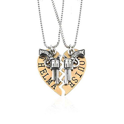 Yee Yeung Thelma and Louise Revolver Charm Split Heart-Shaped Puzzle BFF Necklace - Heart Charm Split