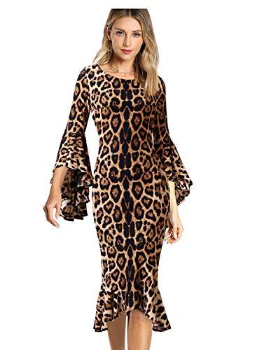 VFSHOW Womens Brown Leopard Ruffle Bell Sleeve Cocktail Party Mermaid Midi Mid-Calf Dress 2808 Leo 3XL ()