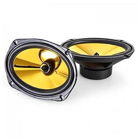 89 dB /• Frecuencia auna Goldblaster 5 Altavoces HiFi para Coche /• Par con coaxial de 3 v/ías /• Potencia 100-20000 Hz /• Negro Dorado 2X 500 W /• Tweeter de neodimio /• Bobina ASV /• Presi/ón Sonora