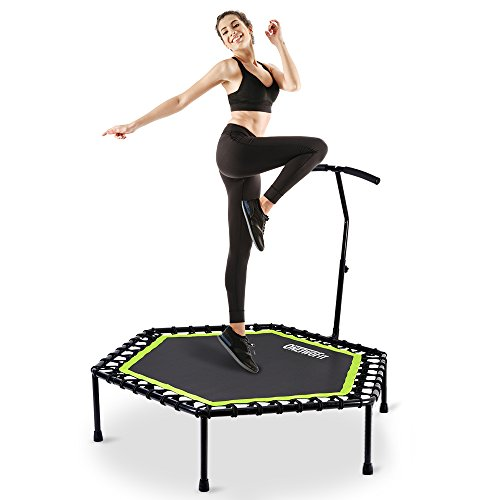 "OneTwoFit 48"" Silent Mini Trampoline with Adjustable Handle Bar Fitness Trampoline Bungee Rebounder Jumping Cardio Trainer Workout for Adults or Kids OT064"