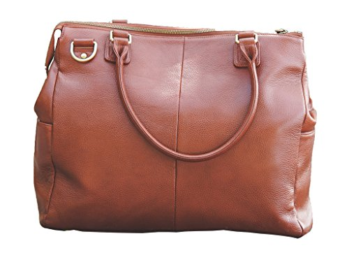 Oemi Leather Diaper Bag ~ 5 Interior Pockets ~ Wide, Removable Shoulder Strap - Brownstone by Oemi Baby