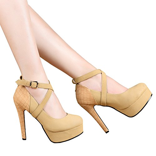 getmorebeauty Women's Tan Fashion Thin Strappy High Heeled Round Toe Snake Print Dress Shoes 7 B(M) US