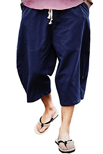 - FASKUNOIE Men's Sports Pants Running Joggin Below Knee Length Short Pants with Pockets Navy