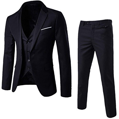 (Mens Notch Lapel Modern Fit Suit Blazer Jacket Tux Vest and Trousers Set Three-Piece,Black,Medium)