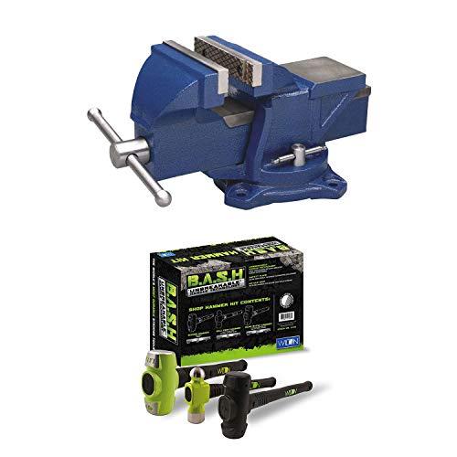 Wilton 4 Inch Anvil Work Bench Vise + 3 Piece Steel Mechanics Hammer Set Kit ()