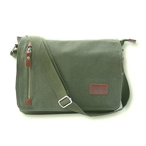 "Price comparison product image ATLIN Vintage Canvas and Leather Messenger Bag - Carry Your 14"" Laptop in Style"