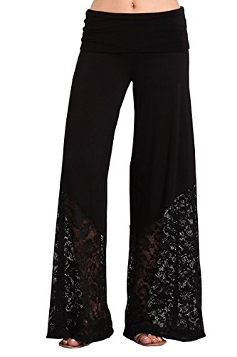 HEYHUN Plus Size Womens Solid Wide Leg Bottom Boho Hippie Lounge Palazzo Pants with Lace - Black - 3XL (Lace Top Leg)