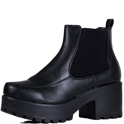 Platform Block Heel Chelsea Ankle Boots Black Leather Style Sz 6