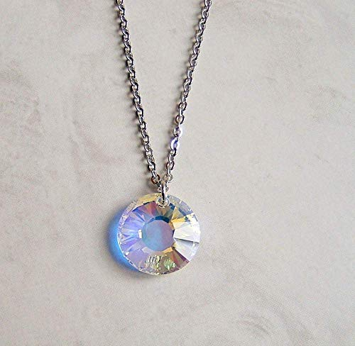 Aurora Borealis Sun Drop Medallion Pendant 18 Inch Stainless Steel Necklace Made With Swarovski Crystal Gift Idea ()