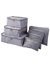 Bolsas de Viaje, Naropox 6 en 1 Organizador de Equipaje Set de 6 Organizadores Para Maletas Bolsa de Almacenamiento de Polvo, Paquetes de clasificación de Ropa Multifuncional, Transpirable Adecuado para Viajes y Hogar (Gris)
