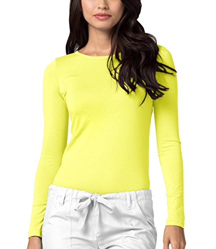Adar Womens Comfort Long Sleeve T-Shirt Underscrub Tee - 2900 - Citron - - Sleeve Crew Long Women Tee