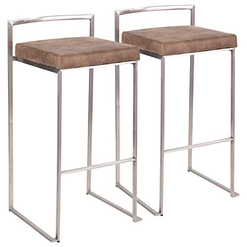 Stackable Barstool in Stainless Steel and Brown Finish - Set of 2