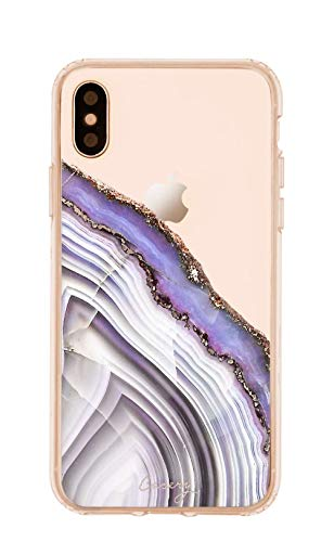 (Casery Case Designed for The Apple iPhone XR, Light Purple Agate (Exotic Marble) - Military Grade Protection - Drop Tested - Protective Slim Clear Case)