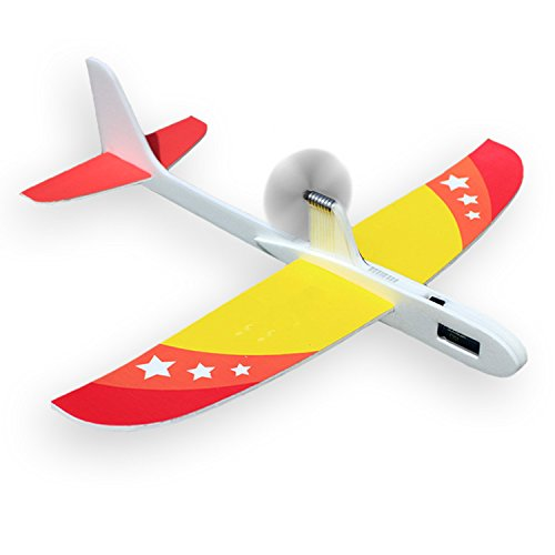 Upgrade Super Capacitor Electric Airplane Hand Throwing Free-flying Fix Wing Foam Glider Little Stars DIY Plane Model Educational Toy for Kids ()