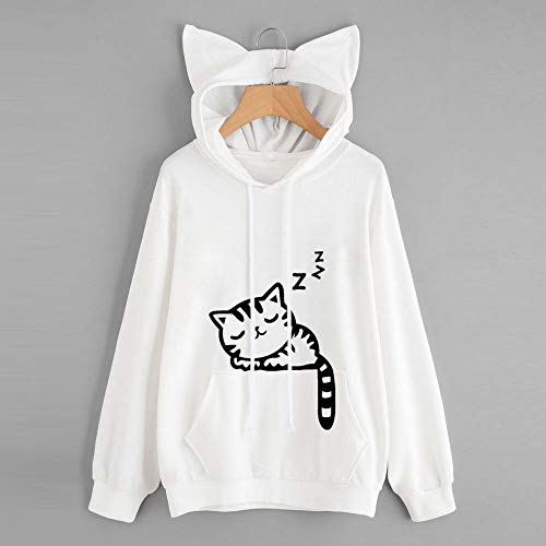 Pullover Sleeve Hoodie Hooded White Long Tops Cat Blouse Womens Sweatshirt qYAEEt