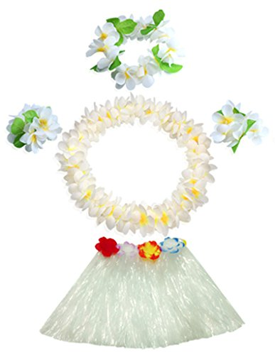 (40cm white grass skirt with flowers bracelets headband necklace Hula)