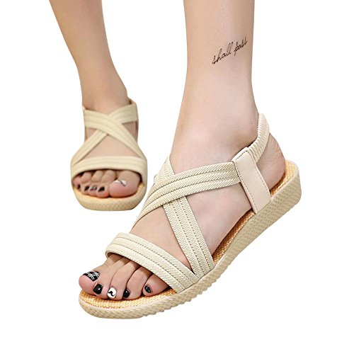 Sandalias, FAMILIZO Mujer Zapatos Planos Vendaje Bohemia Ocio Sandalias De SeñOra Peep-Toe Zapatos Al Aire Libre Beige