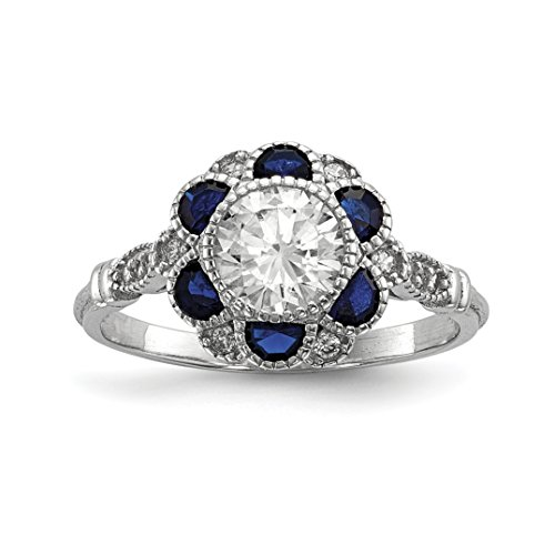 Blue Sapphire Flower (ICE CARATS 925 Sterling Silver Cubic Zirconia Cz Synthetic Blue Sapphire Flower Band Ring Size 6.00 Flowers/leaf Fine Jewelry Gift Valentine Day Set For Women Heart)