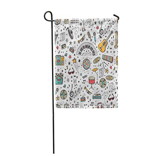 Semtomn Garden Flag 12x18 Inches Print On Two Side Polyester Sketch Music with Doodle Musical Instruments Retro Equipment Play Rock Turntable Home Yard Farm Fade Resistant Outdoor House Decor Flag