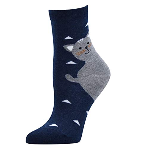 Tronet Slipper Socks/Women Casual Cat Print Cotton Pattern Lady Socks Tube Comfortable Socks