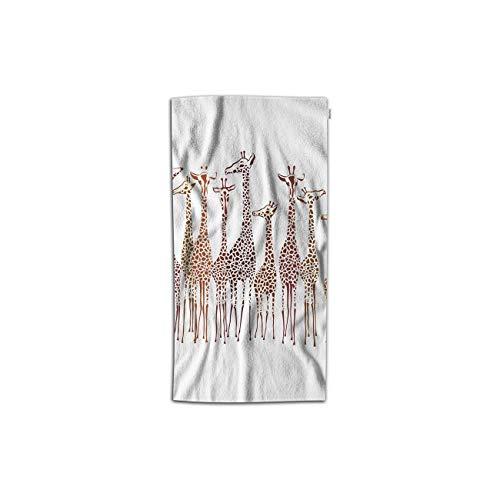 Moslion Giraffes Hand Towels 30Lx15W Inch Animal Cute Wild Cartoon Africa Safari Tall Group Crowded Spot Zoo Hand Towels Kitchen Hand Towels for Bathroom Soft ()