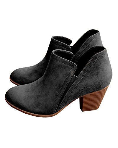 Black Ankle Booties (Doubleal Ankle Boots for Women Booties Heels Black leather Fall Ladies Pointed Toe)
