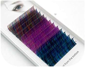 curl 0.07/0.1mm 8 15mm false lashes Rainbow color eyelash individual colored lashes Faux eyelash extensions,D,0.07mm,11mm,Rainbow 2