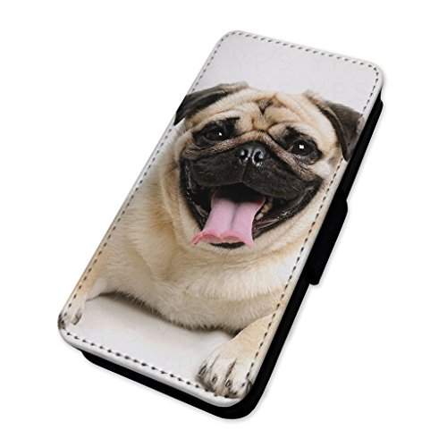 adorable Happy Pug Dog – Custodia ad aletta in pelle copertura di carta Apple Iphone X