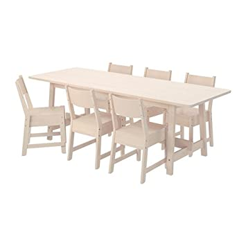 Amazon.com: IKEA mesa y 6 sillas, color blanco 38386.5238 ...