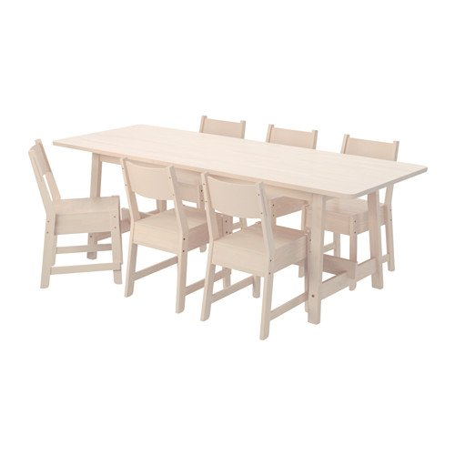 Ikea Table and 6 chairs, white birch, white birch 20204.5238.3838