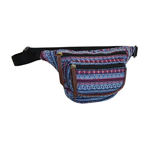 (Aztec Blue Fanny Pack, Small Tribal Waist Bag)