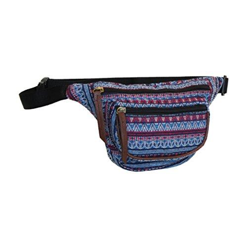 - Aztec Blue Fanny Pack, Small Tribal Waist Bag