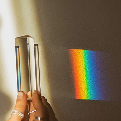 2 Pack Optical Crystal Prism Set, 100mm Triangular Prism, 20mm Crystal Cube for Teaching Light Spectrum, Science Physics and Photo Photography, Rainbow Suncatcher