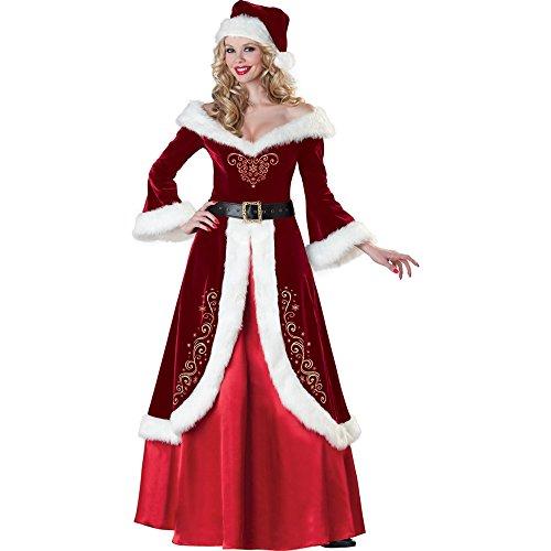 [ZNFQC Women Red Christmas Long Sleeve V-Neck Queen Costume Uniform (Red Dress Belt Hat Petticoat)] (Miss Elf Costumes)