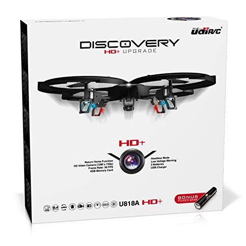 Remote Control Drone with Camera – U818A Discovery HD Camera Drone Long Range Flying Drones for Adults or Kids w/ LEDs, Micro SD, Extra Drone Battery