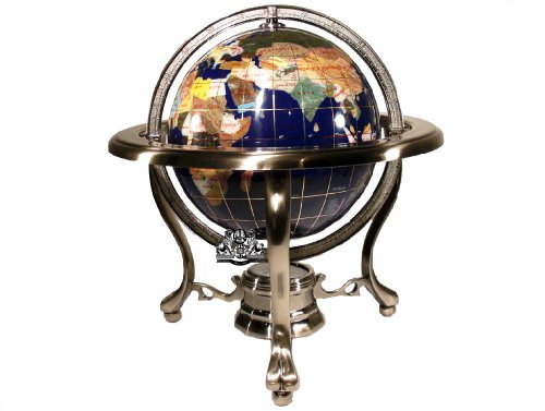 Unique Art 10-Inch Tall Table Top Blue Lapis Ocean Gemstone World Globe with Silver Tripod Stand