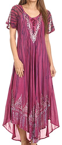 Sakkas 16601 - Ronny Lace Embroidered Cap Sleeve Tie Dye Wash Caftan Dress / Cover Up - Fuchsia / Navy - OS