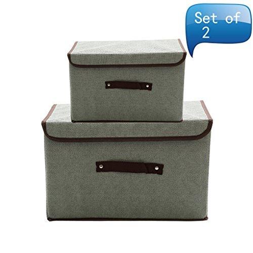 MOCOFO Caja de almacenamiento plegable con tapas y asas cesta de almacenamiento Necesidades Organizador de contenedores con...