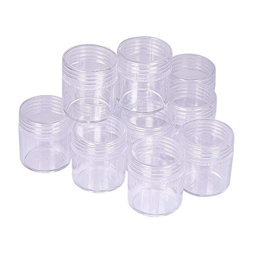 (PH PandaHall About 5oz 12pcs Column Clear Empty Plastic Cosmetic Samples Container Pot Jars with Screw Lids for DIY Diamond, Beads and Other Small Items (25x28mm) )