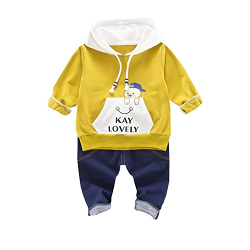 Winter Wonderland Dress Up Ideas (Baby Winter Coat, Egmy Cute 2PCS Infant Toddler Kids Baby Boys Girls Hooded Tops +Pants Outfits Clothes Set (3T, Yellow))