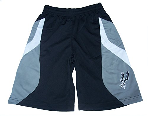 Adidas San Antonio Spurs Youth X-Large XL (18) Performance NBA Authentic Kids Shorts - Black & Silver Adidas Nba Performance Short
