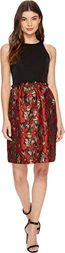 (Tahari by ASL Women's Fit and Flare with Metallic Skirt Black/Red/Gold 6)