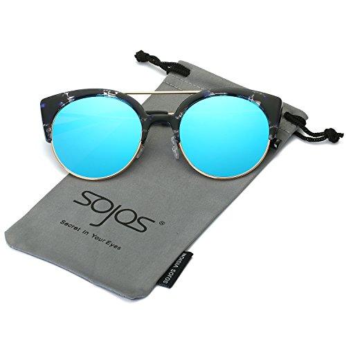 SojoS Womens Retro Vintage Half Metal Frame Cateye Sunglasses SJ2035 With Blue Demi Frame/Blue Lens (No Prescription Color Contacts)