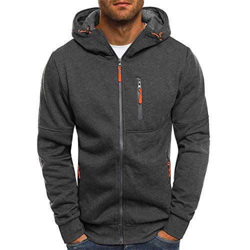 Binmer Mens' Autum Winter Long Sleeve Zipper Patchwork Hooded Sweatshirt Cardigan Tops (2XL, Dark Gray) - Nike Elastic Waist Skirt